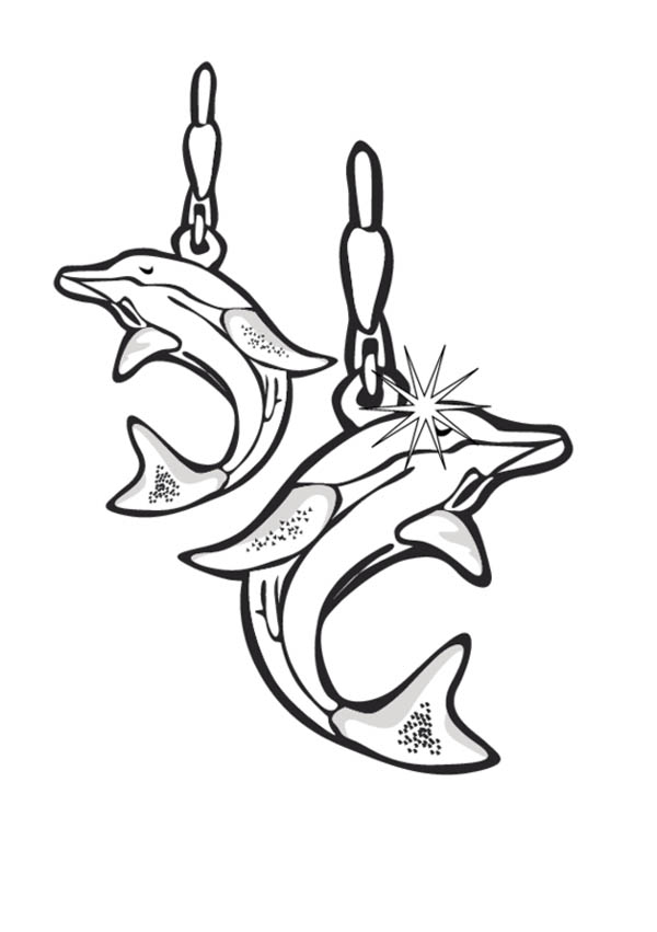 Dolphin earrings jewelry coloring page coloring sky for Jewelry coloring pages