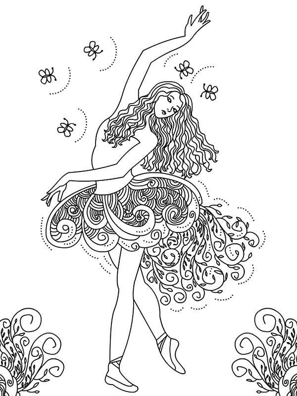 Beautiful Ballerina Girl Coloring Pages | Coloring Sky