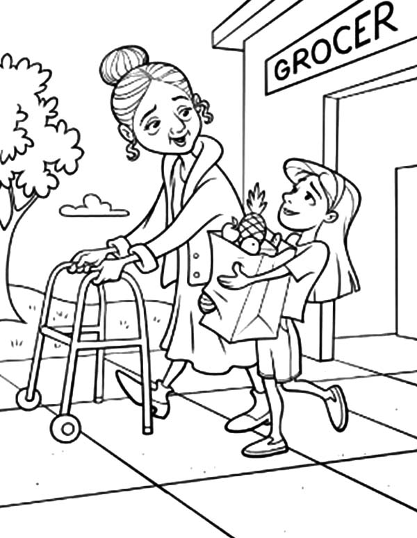 coloring pages of helping others helping others take grandma to groceries store coloring