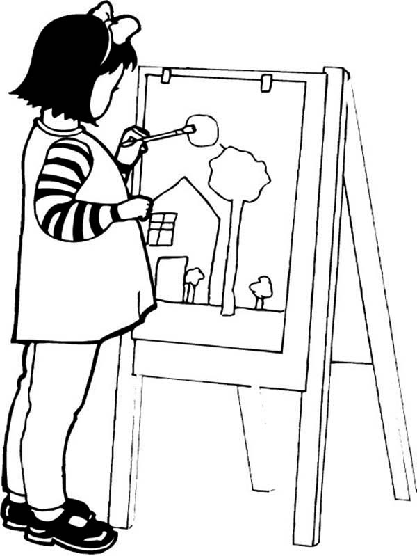 A Girl Paint a Beautiful House Coloring Page | Coloring Sky