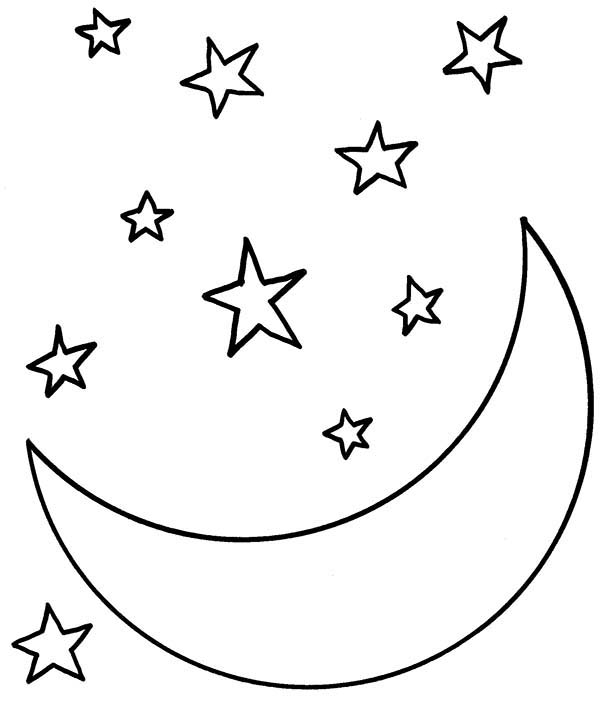 Moon at Starry Night Coloring Page | Coloring Sky